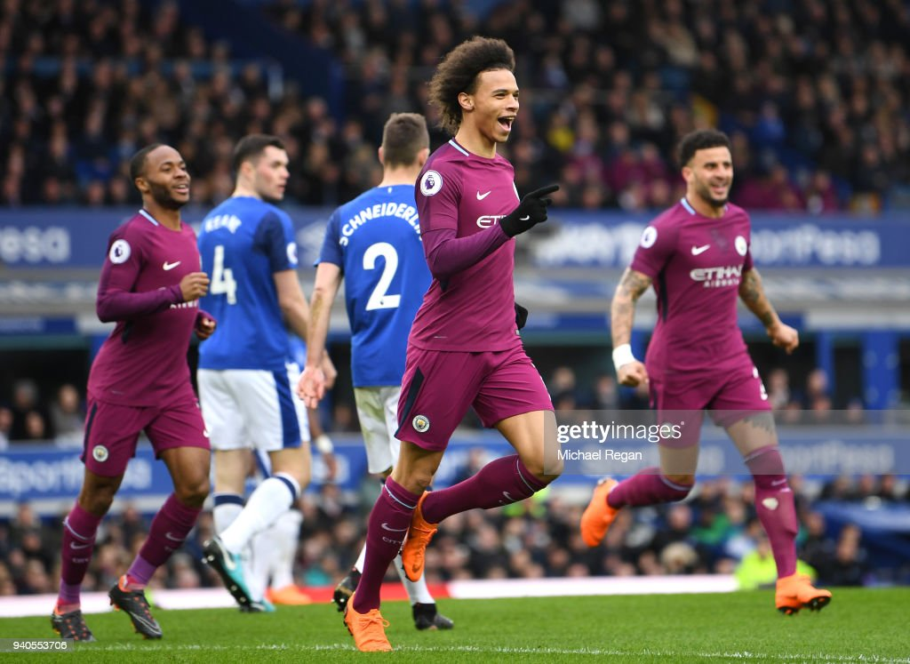 Leroy Sane of Manchester City celebrates after scoring his sides first goal during the Premier League match between Everton and Manchester City at Goodison Park on March 31, 2018 in Liverpool, England.