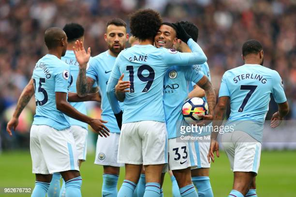 Leroy Sane of Manchester City celebrates after scoring his sides first goal with Gabriel Jesus of Manchester City during the Premier League match...