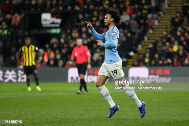 Leroy Sane of Manchester City celebrates after scoring his team's first goal during the Premier League match between Watford FC and Manchester City...