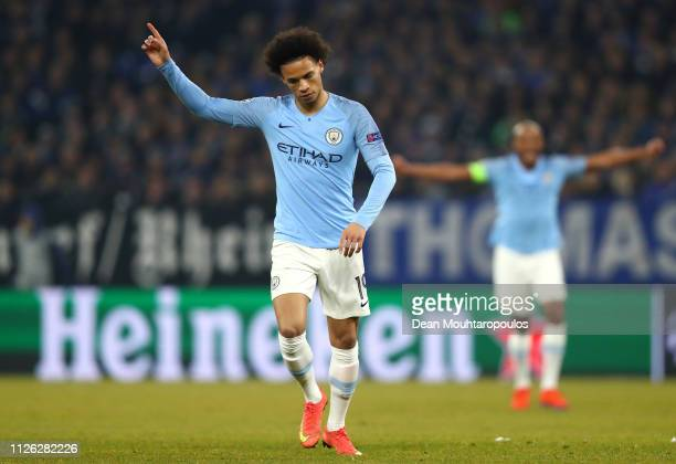Leroy Sane of Manchester City celebrates after scoring his team's second goal during the UEFA Champions League Round of 16 First Leg match between FC...