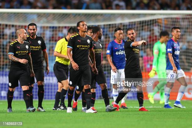 Leroy Sane of Manchester City celebrates after scoring his team's second goal with David Silva of Manchester City during the Pre-Season friendly...