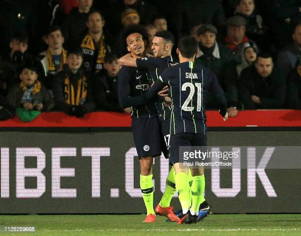 Leroy Sane of Manchester City celebrates after scoring the opening goal for his side during the FA Cup Fifth Round match between Newport County AFC...