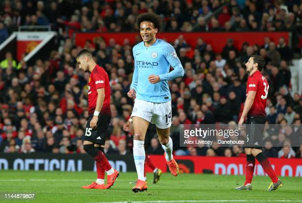 Leroy Sane of Manchester City celebrates after scoring their second goal during the Premier League match between Manchester United and Manchester...