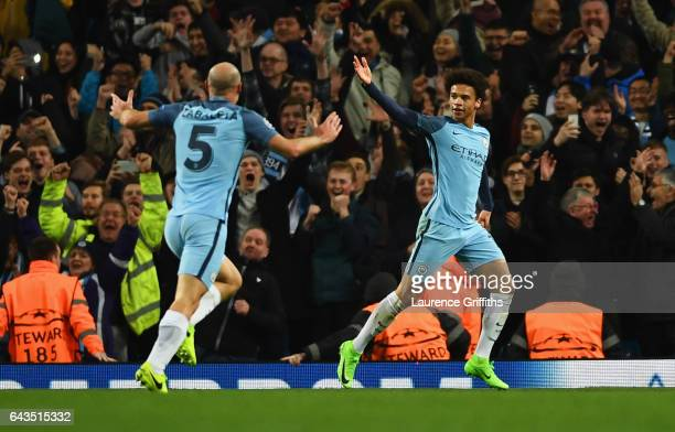 Leroy Sane of Manchester City celebrates as he scores their fifth goal with Pablo Zabaleta during the UEFA Champions League Round of 16 first leg...