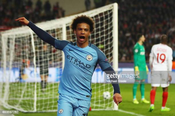 Leroy Sane of Manchester City celebrates as he scores their first goal during the UEFA Champions League Round of 16 second leg match between AS...