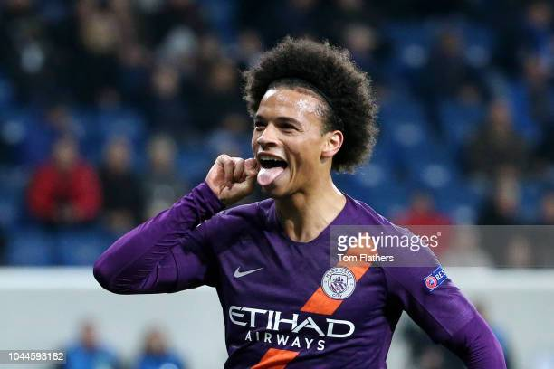 Leroy Sane of Manchester City celebrates as teammate David Silva of Manchester City scores their team's second goal during the Group F match of the...