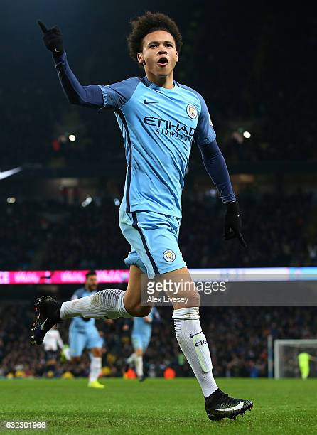 Leroy Sane of Manchester City celebrates scoring his sides first goal during the Premier League match between Manchester City and Tottenham Hotspur...