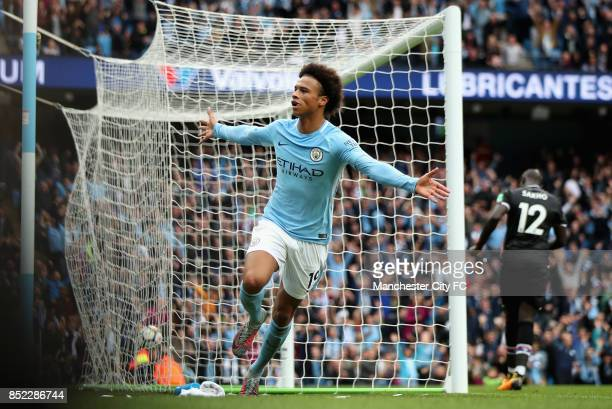 Leroy Sane of Manchester City celebrates scoring his sides first goal during the Premier League match between Manchester City and Crystal Palace at...