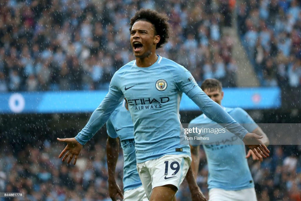 Leroy Sane of Manchester City celebrates scoring his sides fourth goal during the Premier League match between Manchester City and Liverpool at Etihad Stadium on September 9, 2017 in Manchester, England.