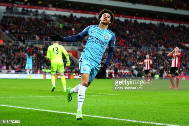 Leroy Sane of Manchester City celebrates scoring his side's second goal during the Premier League match between Sunderland and Manchester City at...