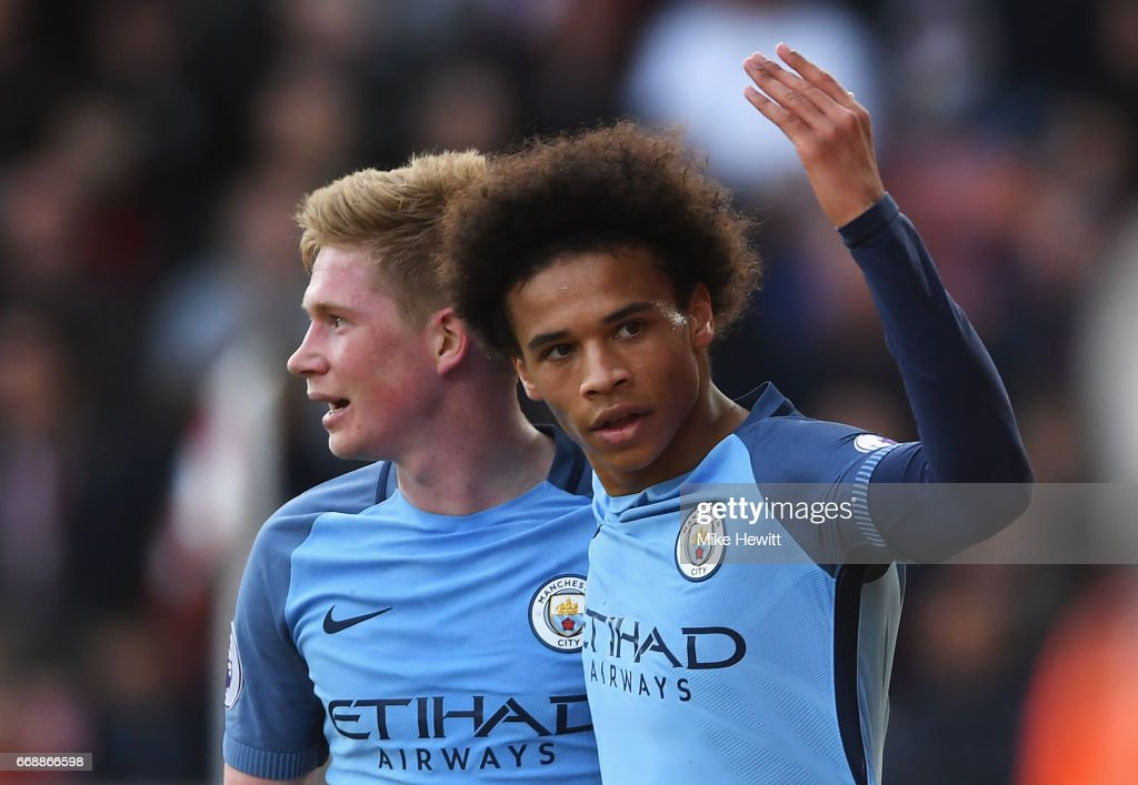 Leroy Sane of Manchester City celebrates scoring his sides second goal with Kevin De Bruyne of Manchester City during the Premier League match between Southampton and Manchester City at St Mary's Stadium on April 15, 2017 in Southampton, England.