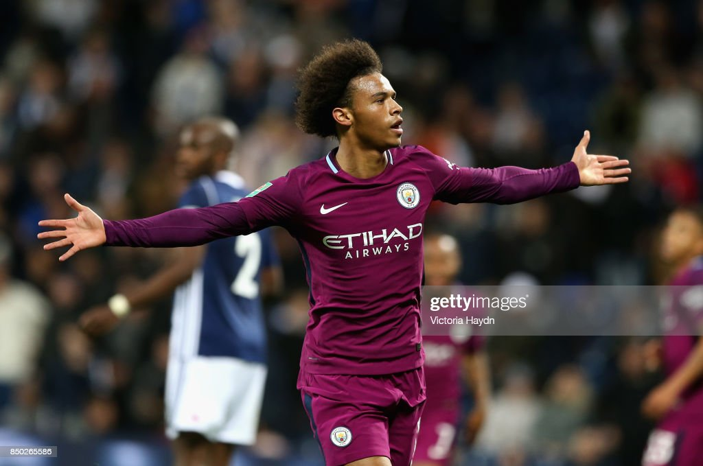 Leroy Sane of Manchester City celebrates scoring his sides second goal during the Carabao Cup Third Round match between West Bromwich Albion and Manchester City at The Hawthorns September 20, 2017 in West Bromwich, England.