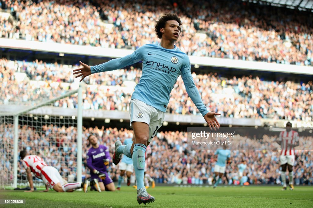Leroy Sane of Manchester City celebrates scoring his sides sixth goal during the Premier League match between Manchester City and Stoke City at Etihad Stadium on October 14, 2017 in Manchester, England.