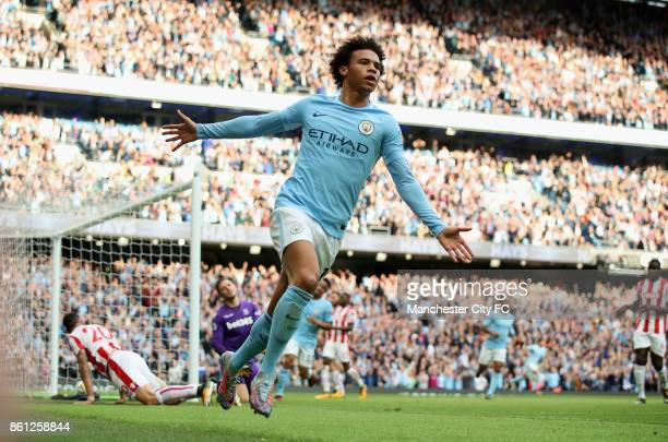 Leroy Sane of Manchester City celebrates scoring his sides sixth goal during the Premier League match between Manchester City and Stoke City at...
