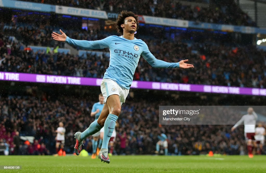 Leroy Sane of Manchester City celebrates scoring his side's third goal during the Premier League match between Manchester City and Burnley at Etihad Stadium on October 21, 2017 in Manchester, England.