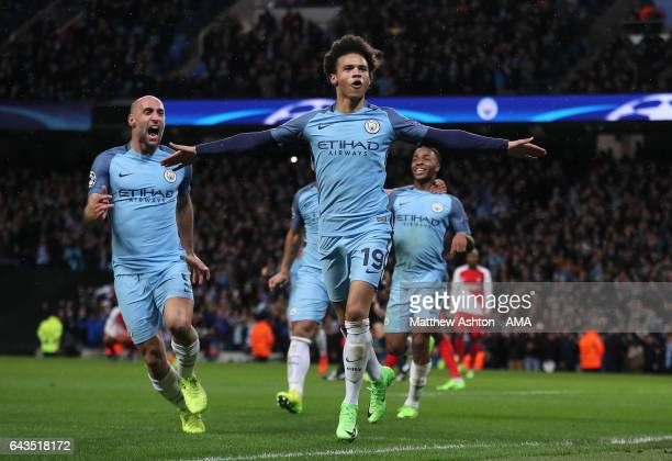 Leroy Sane of Manchester City celebrates scoring his team's fifth goal to make the score 53 during the UEFA Champions League Round of 16 first leg...