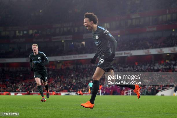 Leroy Sane of Manchester City celebrates scoring their 3rd goal during the Premier League match between Arsenal and Manchester City at Emirates...