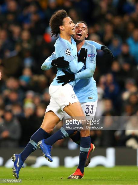 Leroy Sane of Manchester City celebrates with Gabriel Jesus after scoring his goal during the UEFA Champions League Group F match between Manchester...