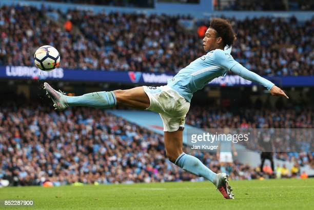Leroy Sane of Manchester City controls the ball during the Premier League match between Manchester City and Crystal Palace at Etihad Stadium on...