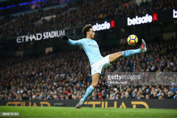 Leroy Sane of Manchester City controls the ball during the Premier League match between Manchester City and Tottenham Hotspur at Etihad Stadium on...