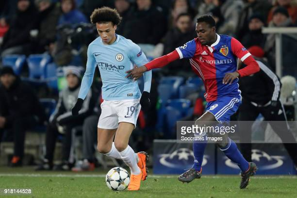 Leroy Sane of Manchester City Dimitri Oberlin of FC Basel during the UEFA Champions League match between Fc Basel v Manchester City at the St...