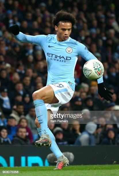 Leroy Sane of Manchester City during the Carabao Cup SemiFinal First Leg match between Manchester City and Bristol City at Etihad Stadium on January...