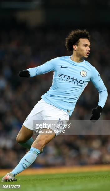 Leroy Sane of Manchester City during the Carabao Cup SemiFinal First Leg between Manchester City and Brostol City at Etihad Stadium on January 9 2018...