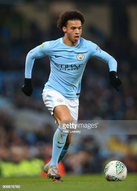 Leroy Sane of Manchester City during the Carabao Cup SemiFinal match between Manchester City and Bristol City at Etihad Stadium on January 9 2018 in...