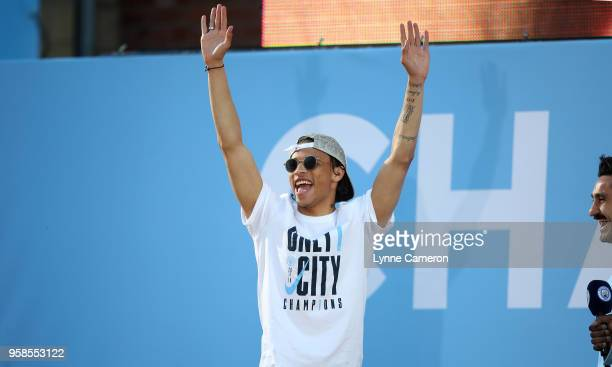 Leroy Sane of Manchester City during the Manchester City Trophy Parade in Manchester city centre on May 14 2018 in Manchester England