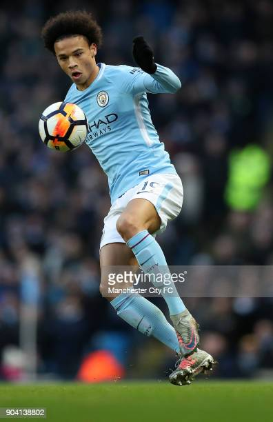 Leroy Sane of Manchester City during the match between Manchester City and Burnley at Etihad Stadium on January 6 2018 in Manchester England