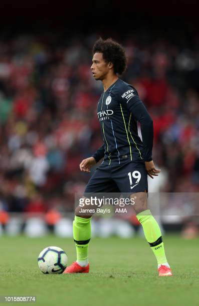 Leroy Sane of Manchester City during the Premier League match between Arsenal FC and Manchester City at Emirates Stadium on August 12 2018 in London...