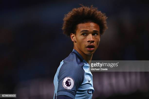 Leroy Sane of Manchester City during the Premier League match between Manchester City and Watford at the Etihad Stadium on December 14 2016 in...