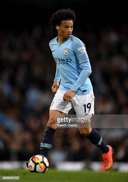 Leroy Sane of Manchester City during the Premier League match between Manchester City and Brighton and Hove Albion at Etihad Stadium on May 9 2018 in...