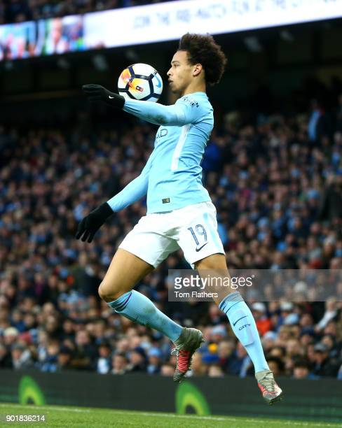 Leroy Sane of Manchester City during the The Emirates FA Cup Third Round match between Manchester City and Burnley at Etihad Stadium on January 6...