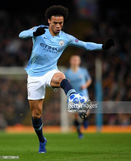 Leroy Sane of Manchester City during the UEFA Champions League Group F match between Manchester City and TSG 1899 Hoffenheim at Etihad Stadium on...