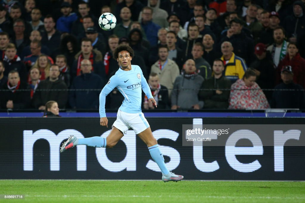 Leroy Sane of Manchester City during the UEFA Champions League match between Feyenoord Rotterdam and Manchester City at Stadion Feijenoord on September 13, 2017 in Rotterdam, Netherlands.
