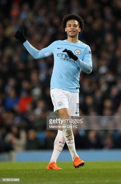 Leroy Sane of Manchester City during the UEFA Champions League Round of 16 Second Leg match between Manchester City and FC Basel at Etihad Stadium on...