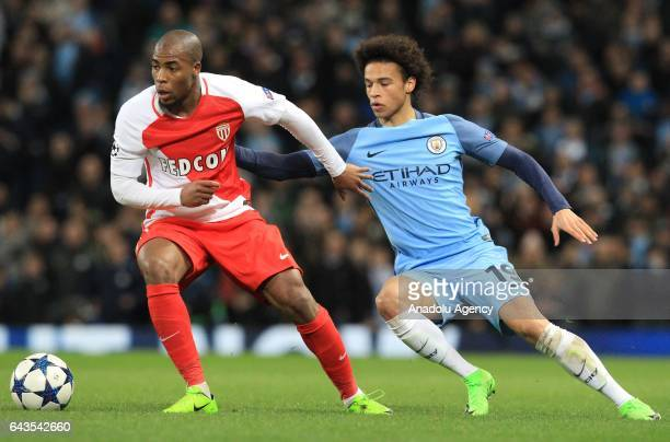 Leroy Sane of Manchester City in action against Djibril Sidibe of AS Monaco during the UEFA Champions League Round of 16 soccer match between...