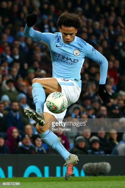 Leroy Sane of Manchester City in action during the Carabao Cup SemiFinal First Leg match between Manchester City and Bristol City at Etihad Stadium...