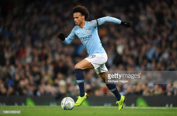 Leroy Sane of Manchester City in action during the Carabao Cup Fourth Round match between Manchester City and Fulham at Etihad Stadium on November 01...