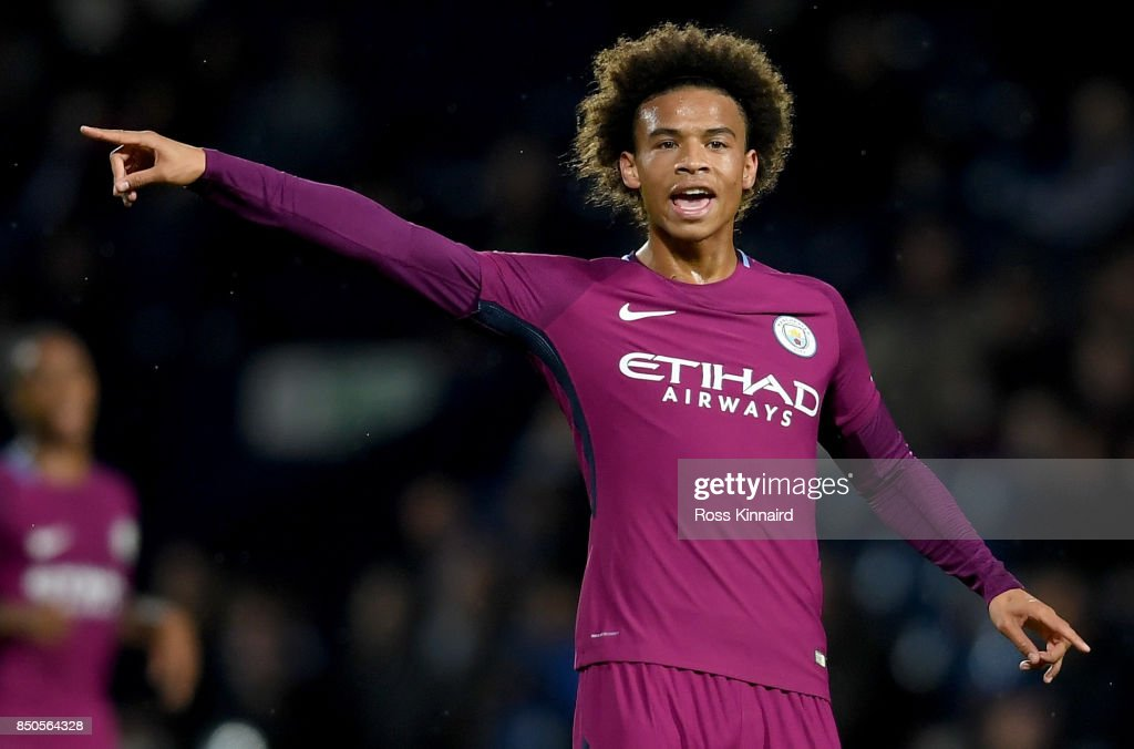 Leroy Sane of Manchester City in action during the Carabao Cup third round match between West Bromwich Albion and Manchester City at The Hawthorns on September 20, 2017 in West Bromwich, England.