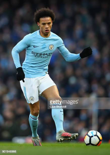 Leroy Sane of Manchester City in action during The Emirates FA Cup Third Round match between Manchester City and Burnley at Etihad Stadium on January...