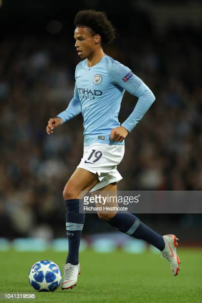 Leroy Sane of Manchester City in action during the Group F match of the UEFA Champions League between Manchester City and Olympique Lyonnais at...