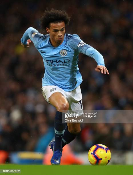 Leroy Sane of Manchester City in action during the Premier League match between Manchester City and Crystal Palace at Etihad Stadium on December 22...
