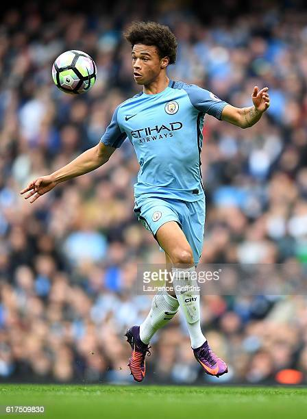 Leroy Sane of Manchester City in action during the Premier League match between Manchester City and Southampton at Etihad Stadium on October 23 2016...
