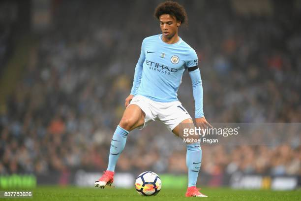 Leroy Sane of Manchester City in action during the Premier League match between Manchester City and Everton at Etihad Stadium on August 21 2017 in...