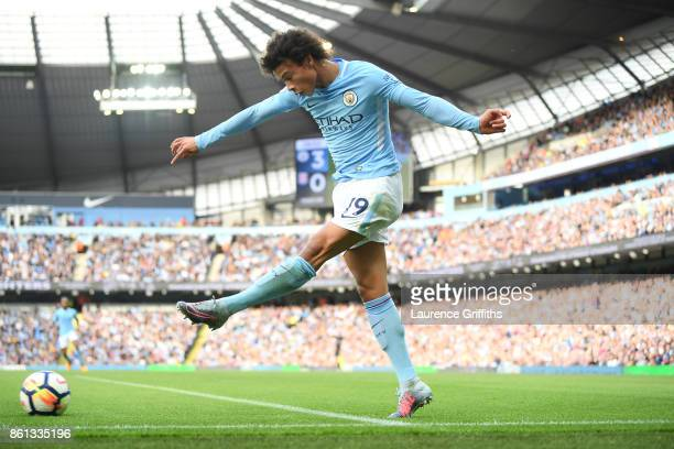 Leroy Sane of Manchester City in action during the Premier League match between Manchester City and Stoke City at Etihad Stadium on October 14 2017...
