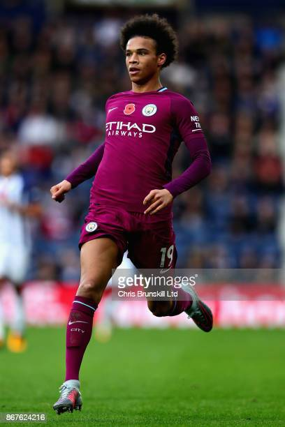 Leroy Sane of Manchester City in action during the Premier League match between West Bromwich Albion and Manchester City at The Hawthorns on October...