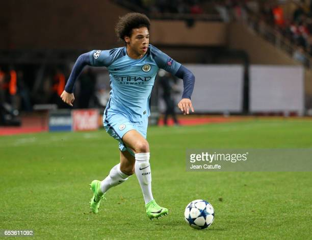 Leroy Sane of Manchester City in action during the UEFA Champions League Round of 16 second leg match between AS Monaco and Manchester City FC at...