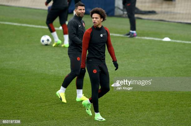 Leroy Sane of Manchester City looks on during a Manchester City training session prior to the UEFA Champions League Round of 16 Second Leg match...